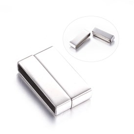 Smooth 304 Stainless Steel Magnetic Clasps, Rectangle, 22x13x4.5mm, Hole: 20x3mm