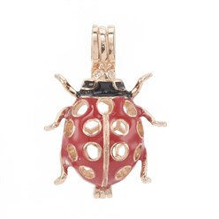 Rose Gold Alloy Enamel Diffuser Locket Pendants, with Micro Pave Cubic Zirconia, Cage Pendants, Ladybug, Red, Rose Gold, 35x25x15.5mm, Hole: 3x6mm; Inner Measure: 20.5x13mm
