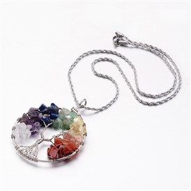 Tree of Life Mixed Stone Big  Pendants Necklaces, with 304 Stainless Steel Rope Chain