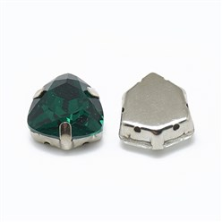 Emerald Sew on Rhinestone, K9 Glass Rhinestone, with Platinum Tone Brass Prong Settings, Garments Accessories, Triangle, Emerald, 12.5x12x6mm, Hole: 0.8mm