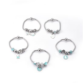 304 Stainless Steel European Bracelets, with Enamel/Rhinestone Beads and Enamel Dangle Charms