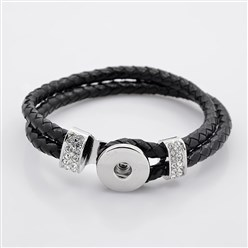 Black Leather Cord Snap Bracelet Making, with Environmental Zinc Alloy Grade A Rhinestones Snap Leather Cord Clasps and Snaps, Platinum, Black, 230x11mm; Fit Snap Buttons in 6mm Knob