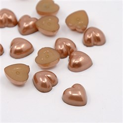 SaddleBrown Acrylic Imitation Pearl Cabochons, Dyed, Heart, SaddleBrown, 10.5x10.5x5mm; about 1500pcs/bag