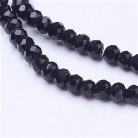 Opaque Solid Color Faceted Glass Beads Strands, Rondelle