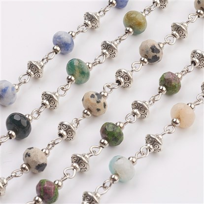 Natural Gemstone Beads Handmade Chains, Unwelded, with Iron Spacer Bead, Tibetan Style Bead, Iron Eye Pin, Faceted