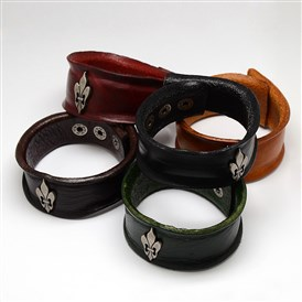 Trendy Unisex Casual Style Alloy Fleur De Lis Studded Leather Cord Wide Wristband Bracelets, with Iron Clasps, 235x33x5mm