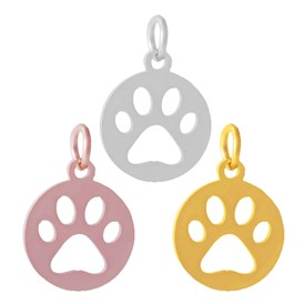 304 Stainless Steel Pendants, Flat Round with Dog Paw Prints