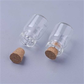 Mini Cute Small Cork Stopper Glass Jar Glass Bottles, Decorative Storage Pendants, 22x15mm; Bottleneck: 7mm; Capacity: 5ml