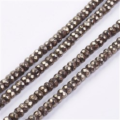 Pyrite Natural Pyrite Bead Strands, Faceted, Rondelle, 4x3mm, Hole: 1mm; about 120pcs/strand, 15.7""
