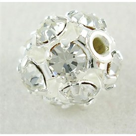 Rhinestone Beads, Grade A, Nickel Free, 12 Facets, Round, Clear
