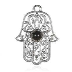 Black Alloy Pendant, with Resin Cabochons, Hamsa Hand/Hand of Fatima/Hand of Miriam, Antique Silver, Black, 48x35x4mm, Hole: 4mm