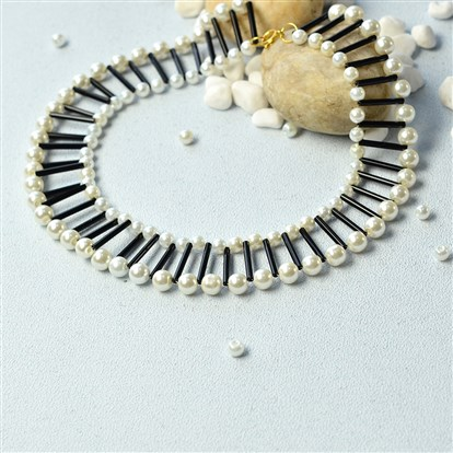 DIY Necklace Kits, Pearl Bead Necklace with Bugle Beads, Choker Necklaces
