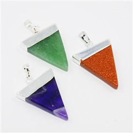 Triangle Shaped Gemstone Pendants, with Silver Plated Brass Findings