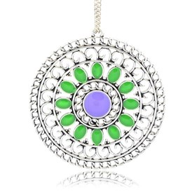 Antique Silver Plated Alloy Enamel Flat Round Pendants, Hollow, 55x52x2mm, Hole: 2mm