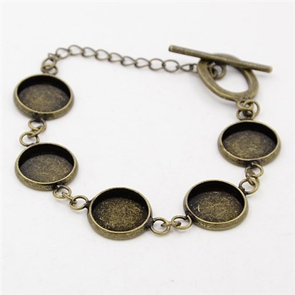 Brass Bracelet Makings, with Toggle Clasp, Tray: 12mm; 180x14mm-1