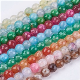 Natural Agate Round Beads Strand, Dyed, Faceted, 8mm, Hole: 1mm; about 47pcs/strand, 15.35""
