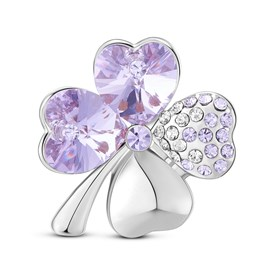SHEGRACE&reg Alloy Brooch, with Micro Pave AAA Cubic Zirconia Four Leaf Clover with Violet Austrian Crystal