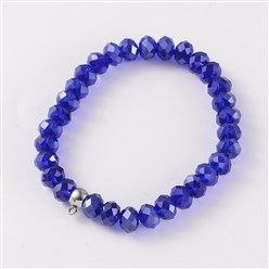 Blue Korean Elastic Thread Glass Beaded Stretch Bracelet Makings, with 304 Stainless Steel Findings, Blue, 55mm