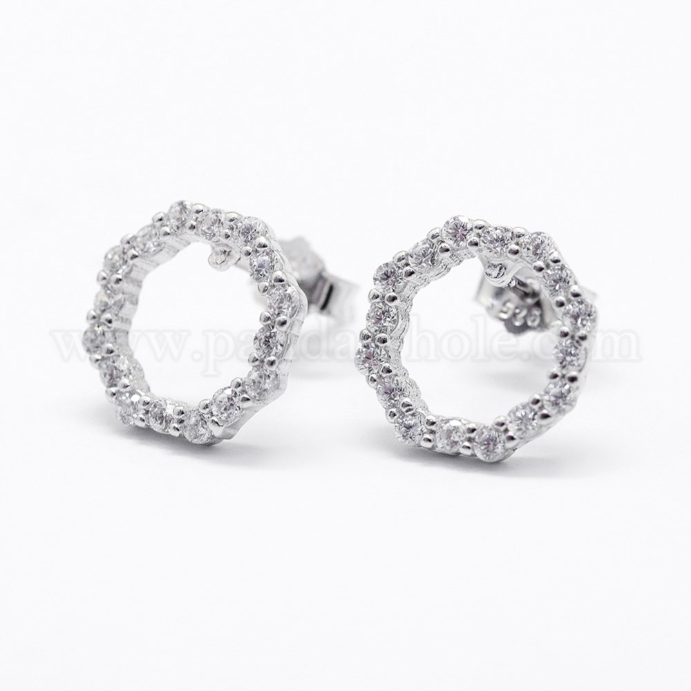 6d3668a46 925 Sterling Silver Micro Pave Cubic Zirconia Stud Earrings, Octagon  (00QSM8)