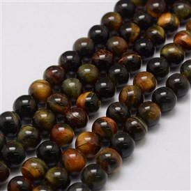 Natural Tiger Eye Bead Strands, Round
