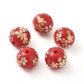 Printed Opaque Resin Beads, Round with Oriental Cherry Pattern