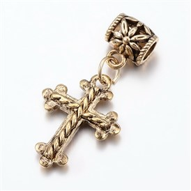 Tibetan Style Alloy European Dangle Beads, Large Hole Pendants, Cross