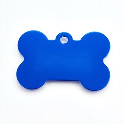 Blue Pet Aluminium Pendants, Blank Stamping Tag, Bone, Blue, 25x38x1mm, Hole: 2.5mm
