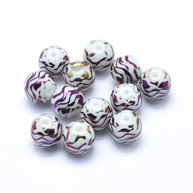 Opaque Spray Painted Glass Beads, Round