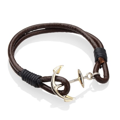 Alloy Bracelets, Cowhide Leather Cord with Cotton Wax Cord, Anchor & Helm, 190mm-1