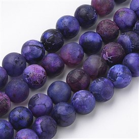 Natural & Dyed Agate Beads Strands, Frosted Style, Round