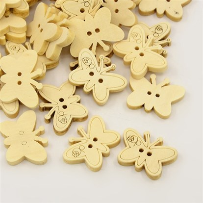 Carton Butterfly Buttons with 2-Hole, Wooden Buttons, 17x23x3.8mm; about 100pcs/bag-1