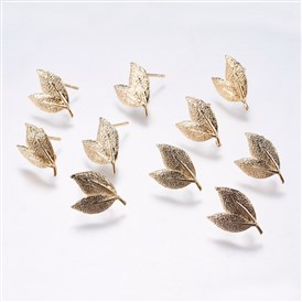 Brass Ear Studs Components, Leaf, Real Gold Plated