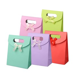 Paper Gift Bags with Ribbon Bowknot Design, 16.3x12.3cm