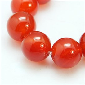 Natural Red Agate/Carnelian Beads Strands, Grade A, Dyed, Round