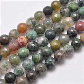 Natural Indian Agate Beads Strands, Round, Faceted