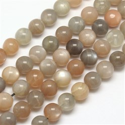 Sunstone Natural Sunstone Beads Strands, Round, 6mm, Hole: 1mm; about 65pcs/strand, 15.7""