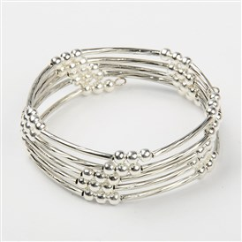 Memory Wire Bracelets, with Brass Tube Beads and Iron Spacer Beads, 55mm
