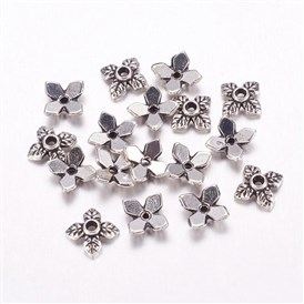Tibetan Style Alloy Caps, Lead Free & Cadmium Free, 8mm in diameter, 2.5mm thick, hole: 1mm