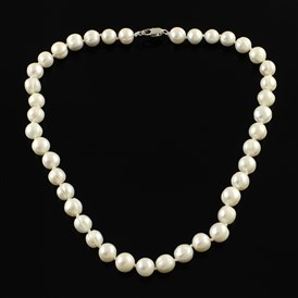 Elegant Pearl Beaded Necklaces, with Platinum Tone Brass Clasps, 18.7""