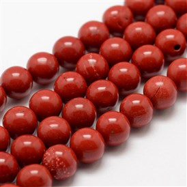 Natural Red Jasper Beads Strands, Grade AA, Round