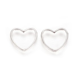 925 Sterling Silver Bead Frames, Carved with 925, Heart
