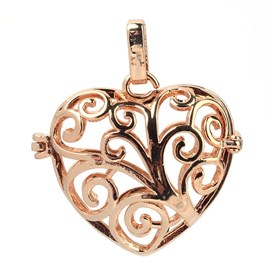 Rack Plating Brass Cage Pendants, For Chime Ball Pendant Necklaces Making, Hollow Heart