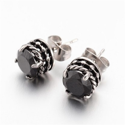 316 Stainless Steel Stud Earrings, Flat Round, with Rhinestones-1