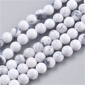 Natural Howlite Beads Strands, Round, White