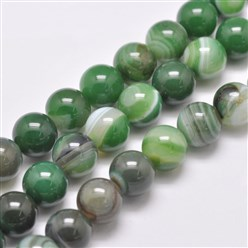 "LimeGreen Natural Striped Agate/Banded Agate Bead Strands, Dyed & Heated, Round, Grade A, LimeGreen, 14mm, Hole: 2mm; about 28pcs/strand, 14.9""(380mm)"