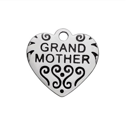304 Stainless Steel Enamel Pendants, Heart with Word Grand Mother-1