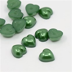 DarkGreen Acrylic Imitation Pearl Cabochons, Dyed, Heart, DarkGreen, 10.5x10.5x5mm; about 1500pcs/bag