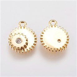 Real Gold Plated Brass Micro Pave Cubic Zirconia Charms, Gear, Real Gold Plated, 12.5x10x2.5mm, Hole: 1mm