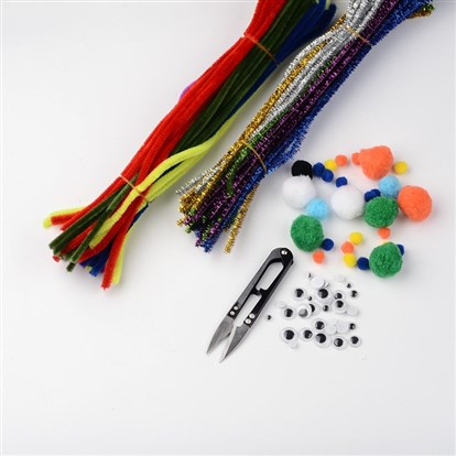 Free Tutorial DIY Jewelry Sets, Christmas Tinsel Chenille Stem, Wobbly Eye Plastic Cabochons, Mixed Round Wool Pom Pom Ball and Steel Scissors, 7x29cm; 5x30cm