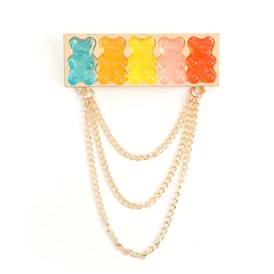 Creative Zinc Alloy Brooches, with Resin and Iron Chains, Bear